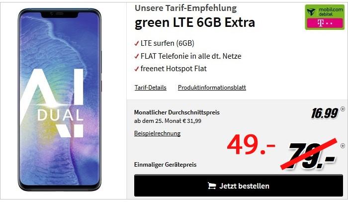 Huawei Mate 20 Pro + 6 GB LTE und Allnet-Flat im Telekom-Netz