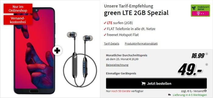 Huawei P20 Pro + Sennheiser CX 6.00 BT + mobilcom-debitel green LTE (Telekom-Netz) bei Saturn