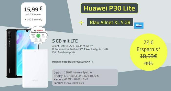 Huawei P30 lite + Huawei CV80 Pocket Phot Printer + Blau Allnet XL bei Curved