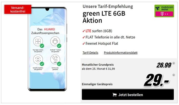 Huawei P30 Pro mit Allnet-Flat und bis zu 8 GB LTE im Telekom-Netz