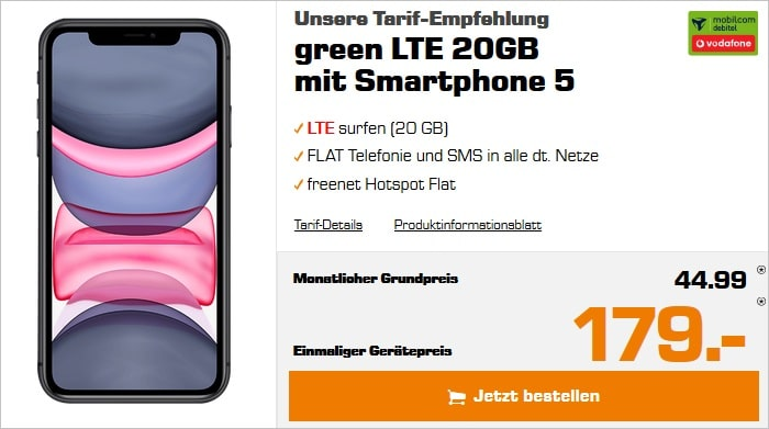 iphone 11 mit green lte vodafone 20 gb lte