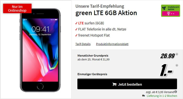 Apple iPhone 8 + mobilcom-debitel green LTE (Telekom-Netz) bei MediaMarkt