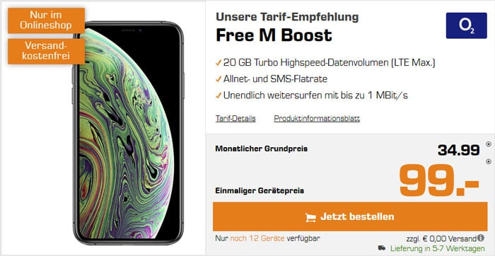 iPhone Xs + o2 Free M Boost bei Saturn