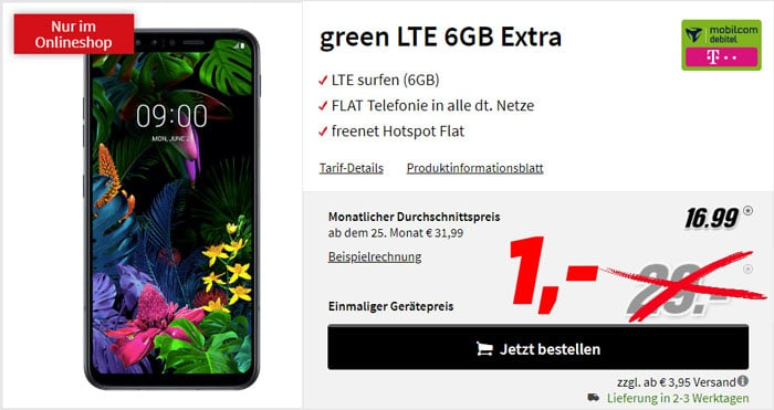 LG G8s ThinQ + mobilcom-debitel green LTE (Telekom-Netz) bei MediaMarkt