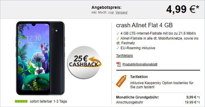 LG Q60 + crash Allnet Flat 4 GB LTE (Vodafone-Netz) bei LogiTel