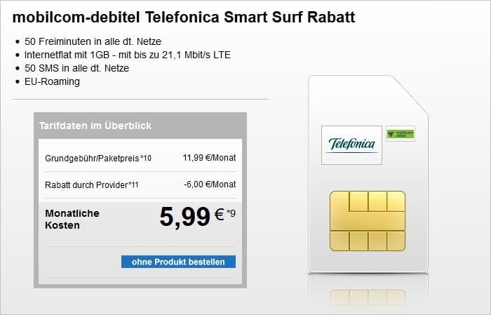 mobilcom-debitel Telefonica Smart Surf bei modeo