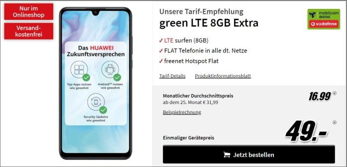 Huawei P30 lite mit Vertrag md green LTE im Vodafone-Netz