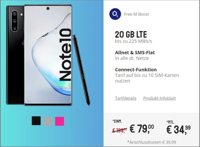 Galaxy Note 10 mit Vertrag O2 Free M Boost
