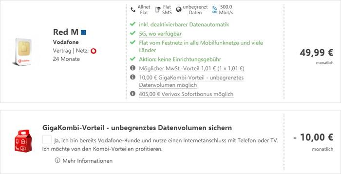 Vodafone Red M mit Cashback bei Verivox