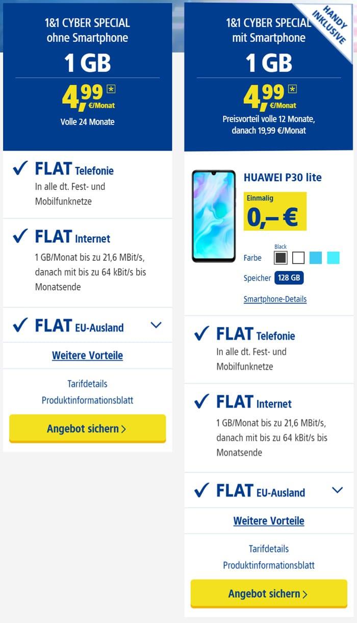 1&1 Cyber Special: Allnet-Flat mit 1 GB LTE & dauerhaft nur 4,99 € mtl. Grundgebühr - auch mit Huawei P30 lite & mehr Daten