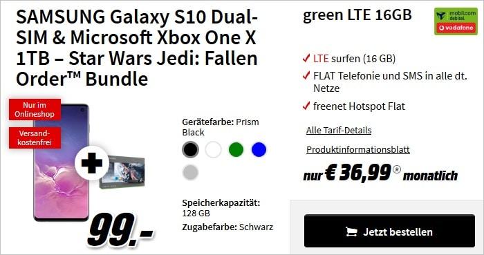 Galaxy S10 + Xbox One X StarW + green 16 gb