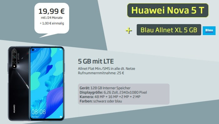 Huawei Nova 5T mit Blau Allnet XL