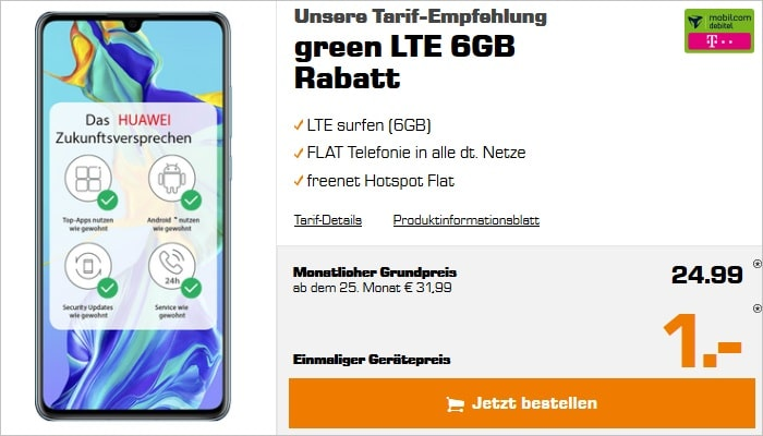 Huawei P30 + mobilcom-debitel green LTE 6 GB (Telekom-Netz) bei Saturn
