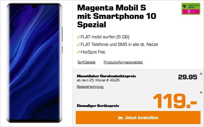 Huawei P30 Pro New Edition mit md Magenta Mobil S im Telekom-Netz bei Saturn