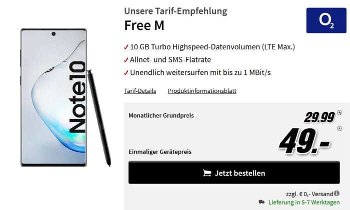 Samsung Galaxy Note 10 mit o2 Free M