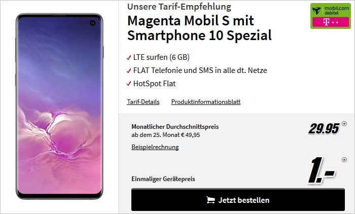 Samsung Galaxy S10 + md magenta mobil s bei MM