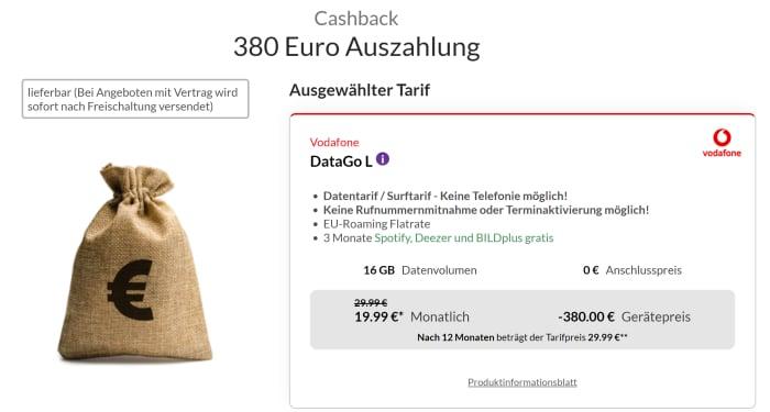 Vodafone DataGo L mit 380 € Cashback