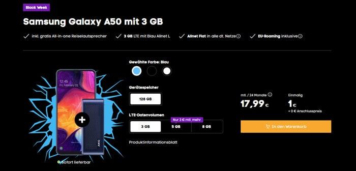 Samsung Galaxy A50 + Blau Allnet L bei Blau