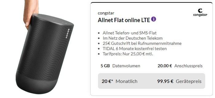 Sonos Move + congstar Allnet Flat bei Preisboerse24
