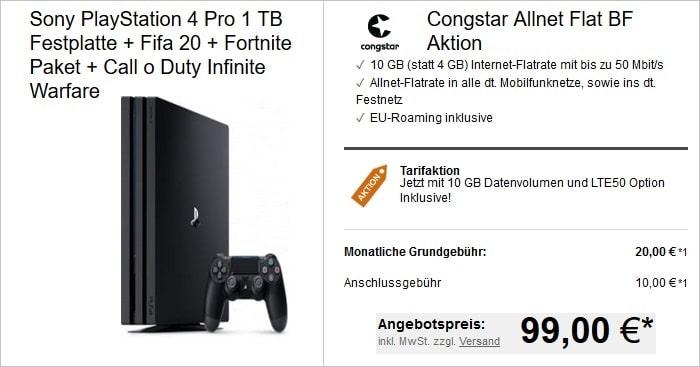 congstar mit PS4 Pro Bundle