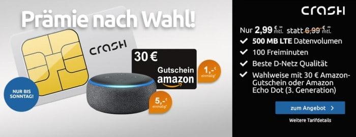 crash Smartphone Flat 5400 MB LTE mit 30 € AMazon-Gutschein oder Amazon Echo Dot bei LogiTel