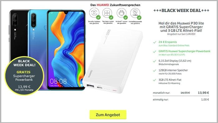 Huawei P30 lite + Allnet-Flat mit 3 GB LTE Blau