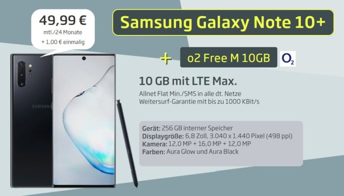 Samsung Galaxy Note 10 Plus mit o2 Free M bei Curved
