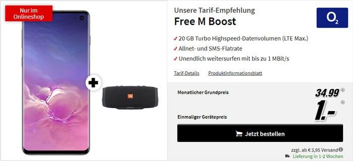 Samsung Galaxy S10 + JBL Charge 3 Stealth Edition + o2 Free M Boost bei MediaMarkt