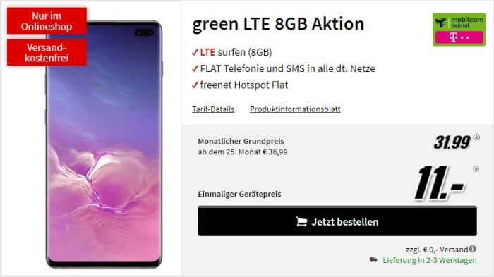 Samsung Galaxy S10 Plus + mobilcom-debitel green LTE (Telekom-Netz) bei MediaMarkt