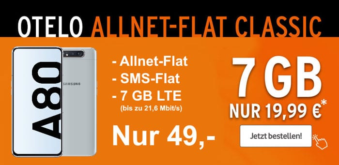 Samsung Galaxy A80 + otelo Allnet-Flat Classic bei talkthisway
