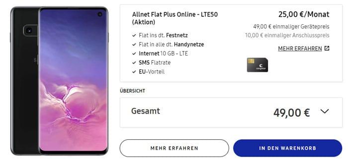 Samsung Galaxy S10 + congstar Allnet Flat Plus bei Samsung