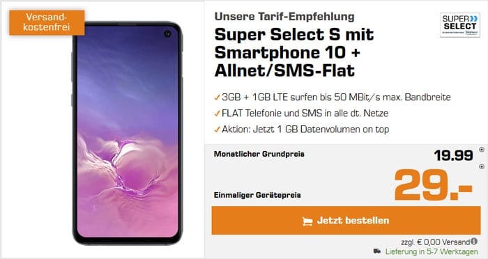 Samsung Galaxy S10e + Super Select S bei Saturn