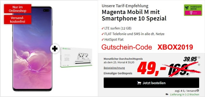 Samsung Galaxy S10 Plus + Xbox One S (1 TB) + mobilcom-debitel Magenta Mobil M (Telekom-Netz) bei MediaMarkt