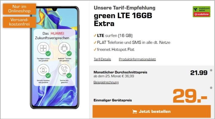 Huawei P30 mit Vertrag md green LTE im Vodafone-Netz