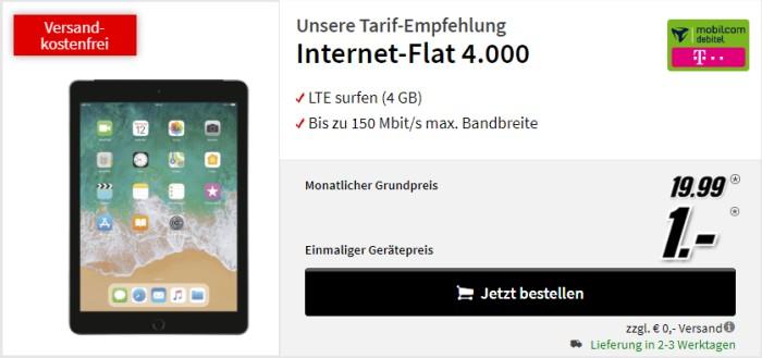 iPad 2019 LTE + mobilcom-debitel Internet-Flat 4.000 (Telekom-Netz) bei MediaMarkt)