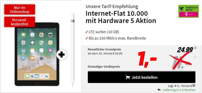 Apple iPad 2019 LTE (32 GB) + Apple Pencil + mobilcom-debitel Internet-Flat 10.000 (Telekom-Netz) bei MediaMarkt