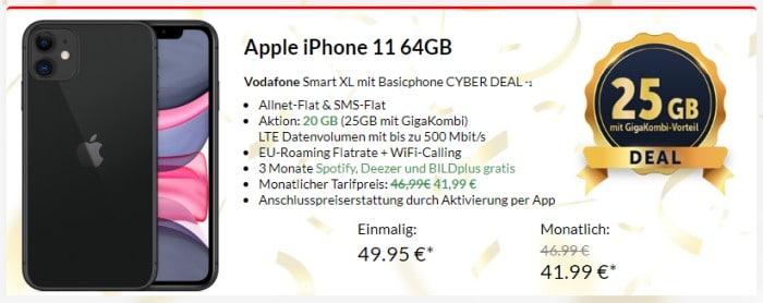 iPhone 11 + Vodafone Smart XL bei Preisboerse24