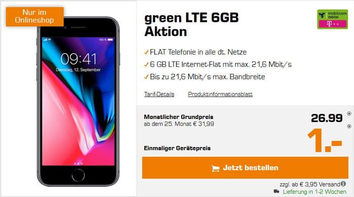 iPhone 8 + mobilcom-debitel green LTE (Telekom-Netz) bei Saturn