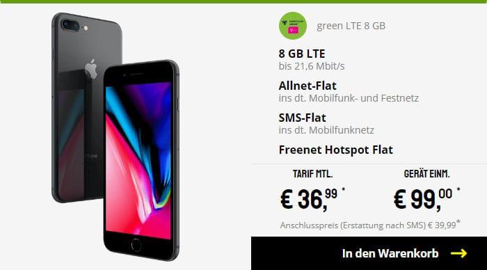 iPhone 8 Plus + mobilcom-debitel green LTE (Telekom-Netz) bei Sparhandy