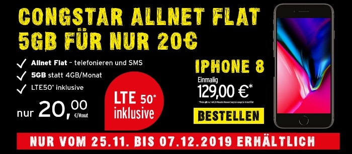 iphone 8 zur congstar allnet flat 5 gb