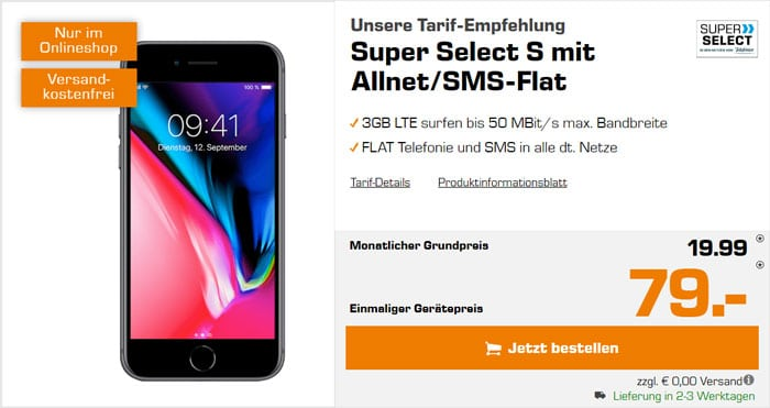 iPhone 8 + Super Select S bei Saturn