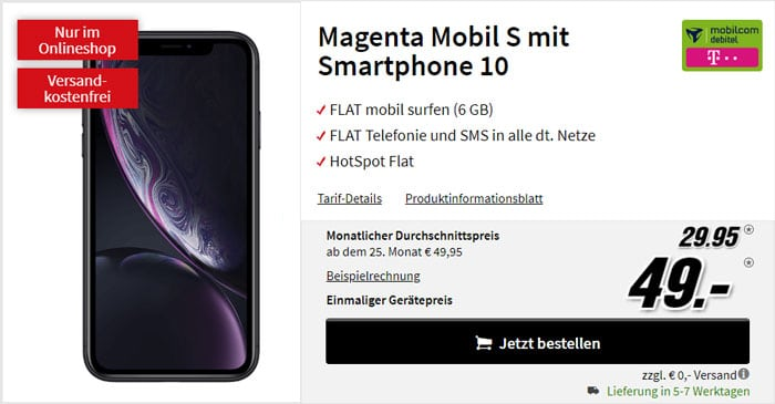 iPhone Xr + mobilcom-debitel Magenta Mobil S (Telekom-Netz) bei MediaMarkt