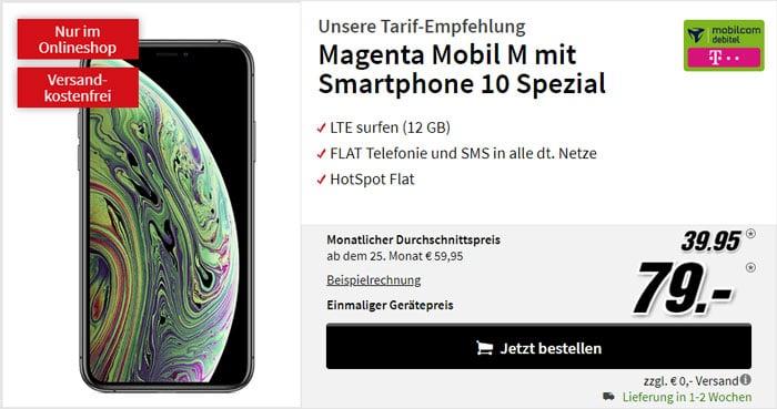 iPhone Xs + mobilcom-debitel Magenta Mobil M (Telekom-Netz) bei MediaMarkt