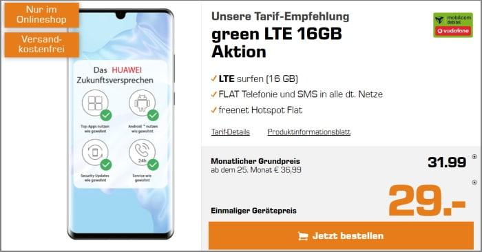Huawei P30 Pro mit Vertrag md green LTE im Vodafone-Netz