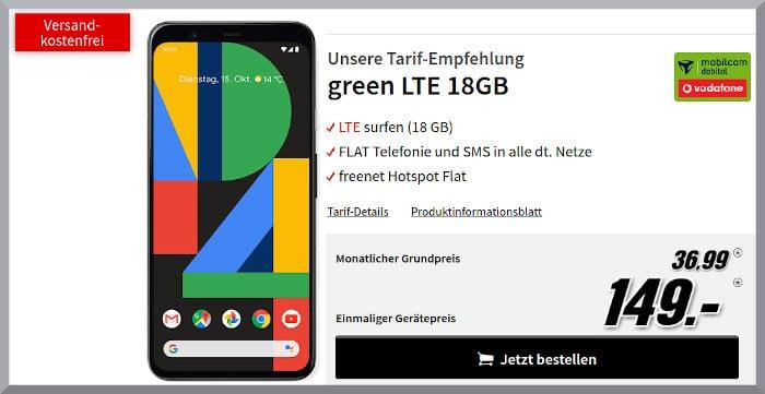Google Pixel 4 XL mit Vertrag md Green LTE im Vodafone-Netz