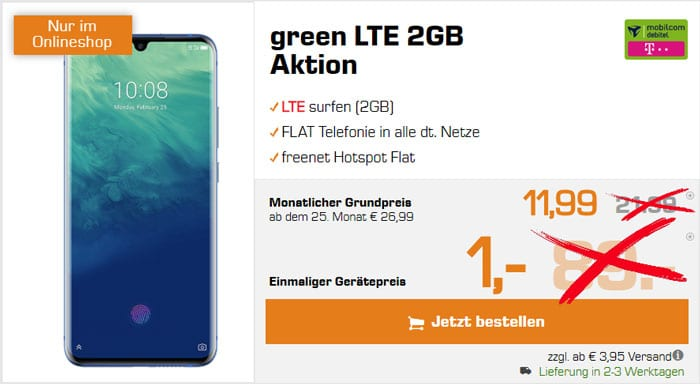 ZTE Axon 10 Pro + mobilcom-debitel green LTE (Telekom-Netz) bei Saturn