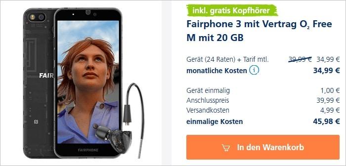Fairphone 3 mit Kopfhörer zum o2 Free M bei o2