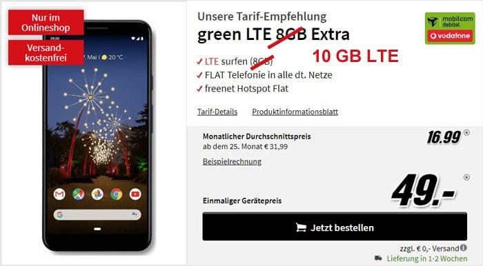 Google Pixel 3a XL mit 10 GB LTE Datenvolumen im Vodafone-Netz