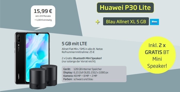 Huawei P30 Lite + zwei Speaker + Blau Allnet XL 5 GB bei Curved