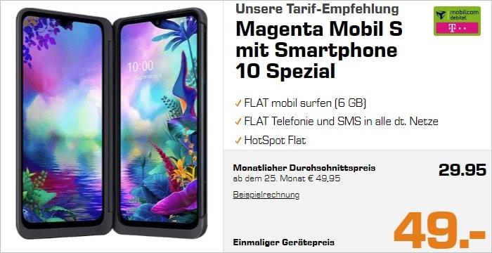 LG G8X Thinq + Beamer + Magenta Mobil S Saturn